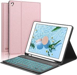 Keyboard Case for iPad 9.7 - iPad 6th Generation - iPad Air - iPad Air 2 - iPad Pro 9.7 - Pencil Holder - Backlit Keyboard - Auto Wake and Sleep - iPad Keyboard Case 9.7 (Rose Gold, 9.7)