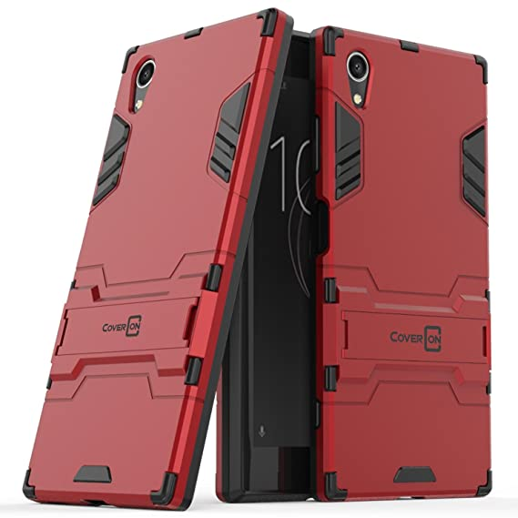 online store be0b0 4c22e Sony Xperia XA1 Plus Case, CoverON Shadow Armor Series Modern Style Slim  Hard Hybrid Phone Cover with Kickstand Case for Sony Xperia XA1 Plus - Red