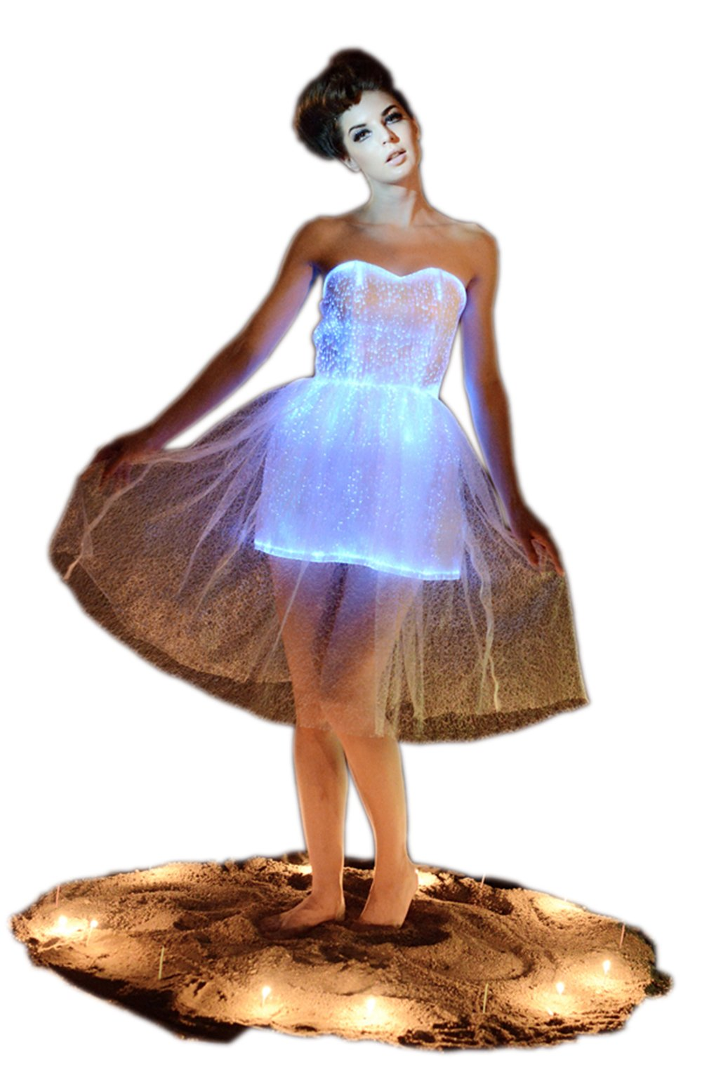 Fiber Optic Strapless Wedding Bridesmaid Lace Dress Glow In The Dark Backless Party Dress Dance Wear (L, White)