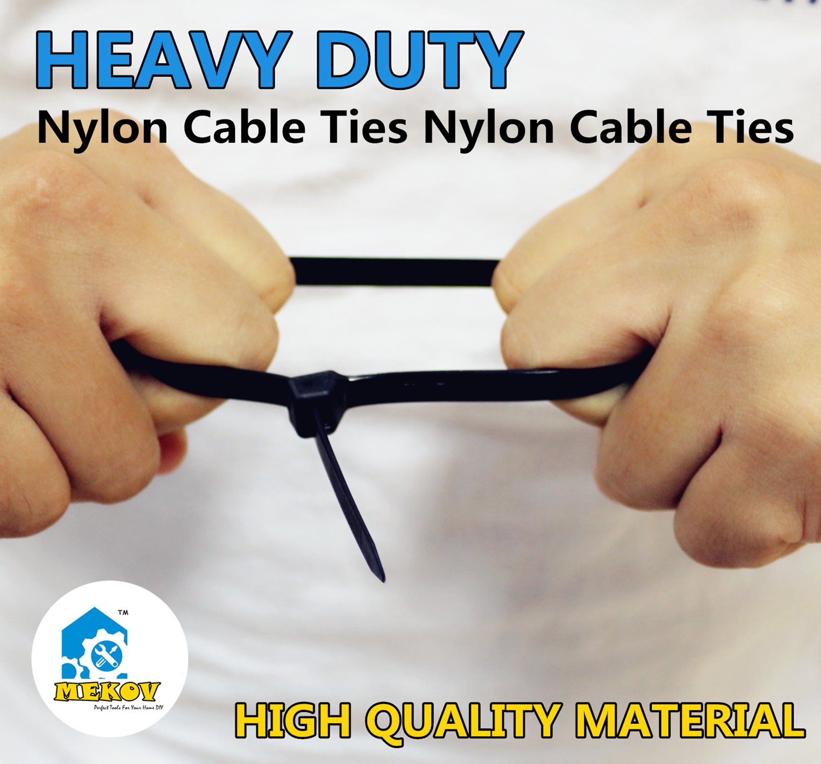 Nylon Cable Ties, Mekov, 6 Inch Heavy Duty Cable Ties, 18-LB Tensile Strength, Zip Ties with 0.1 Inch Width, Durable, Indoor & Outdoor use, UV Resistant (6'', 1000 Pack, Yellow) by Mekov (Image #3)