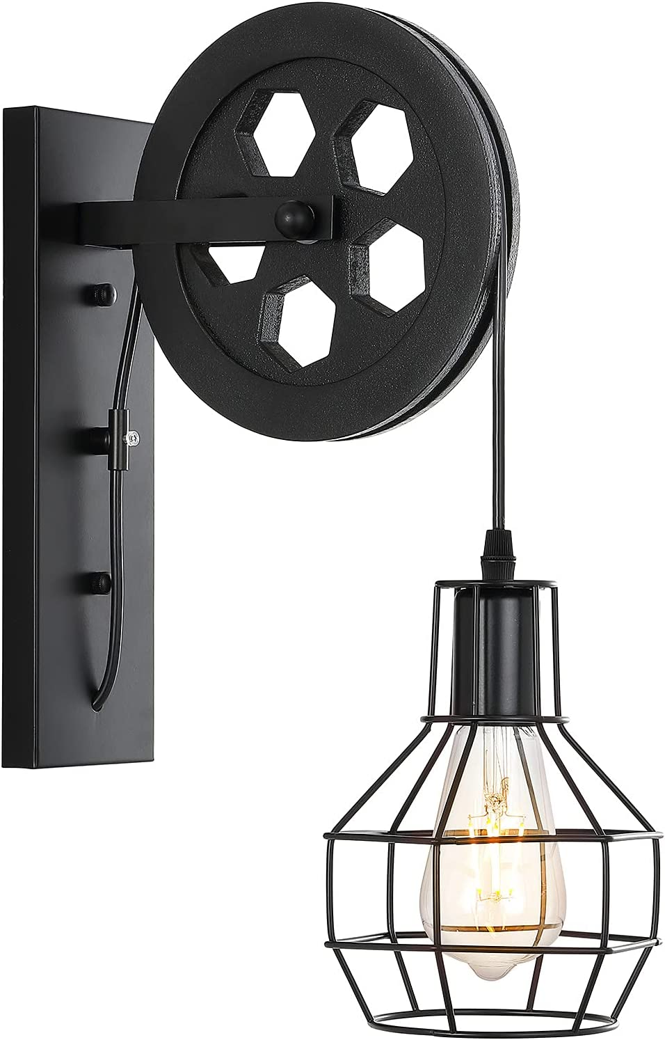 BAODEN 1-Light Rustic Wall Light Lift Pulley with Matte Iron Cage Lampshade Industrial Mid Century Sconce for Indoor Lighting Barn Restaurant (Black Color)