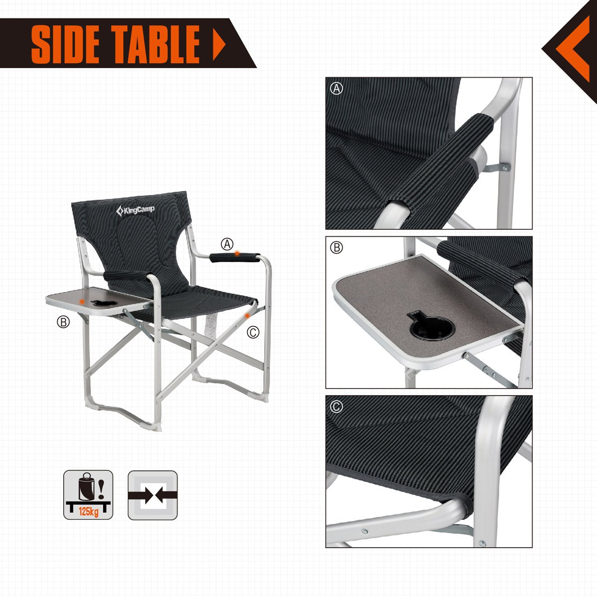 Supports 300lbs KingCamp Director Chair Full Back Folding Aluminum Padded Portable Heavy Duty Comfort Sturdy with Armrest Side Table and Cup Holder for Camping