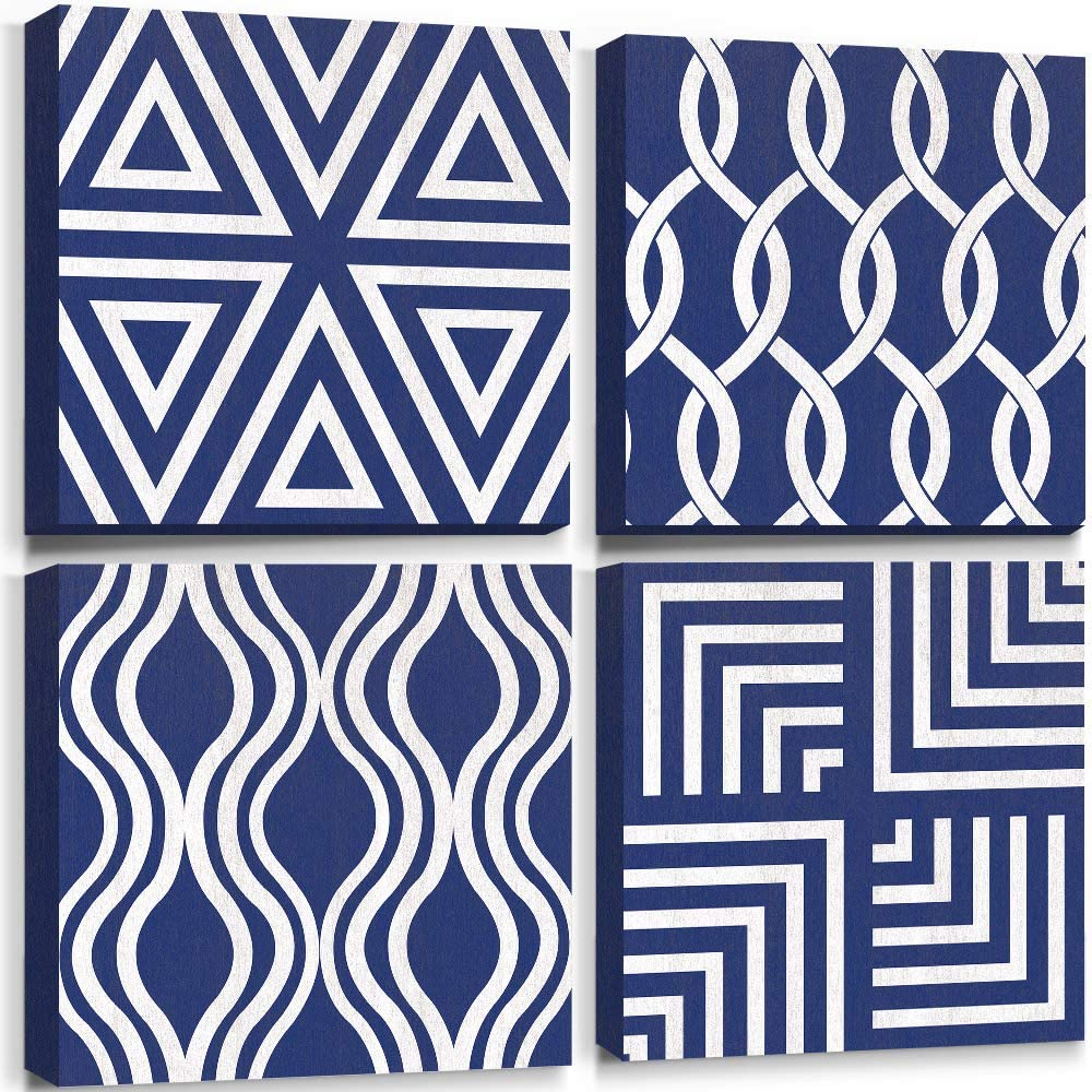 lamplig Navy Blue Wall Art Decor Geometric White Lines Paintings Minimalist Modern Pictures Framed Boho Prints Abstract Artwork Home Decorations for Bedroom Living Room 12x12inch 4 Small Pieces
