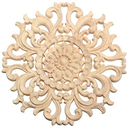 TOOGOO(R) Lots Wood Carved Long Onlay Applique Unpainted Flower Walls  Cabinets Door Decor