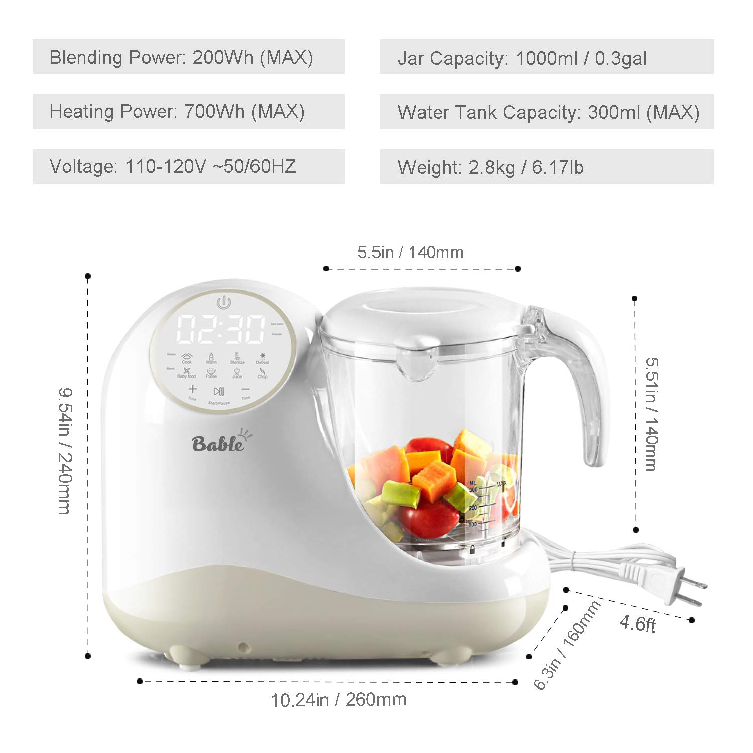 Baby Food Maker for Infants and Toddlers, Bable All in 1 Food Processor Mills Machine with Steam, Blend, Chop, Reheater, Grinder and Auto Cleaning, Touch Control Panel, Auto Shut-Off by BABLE (Image #8)