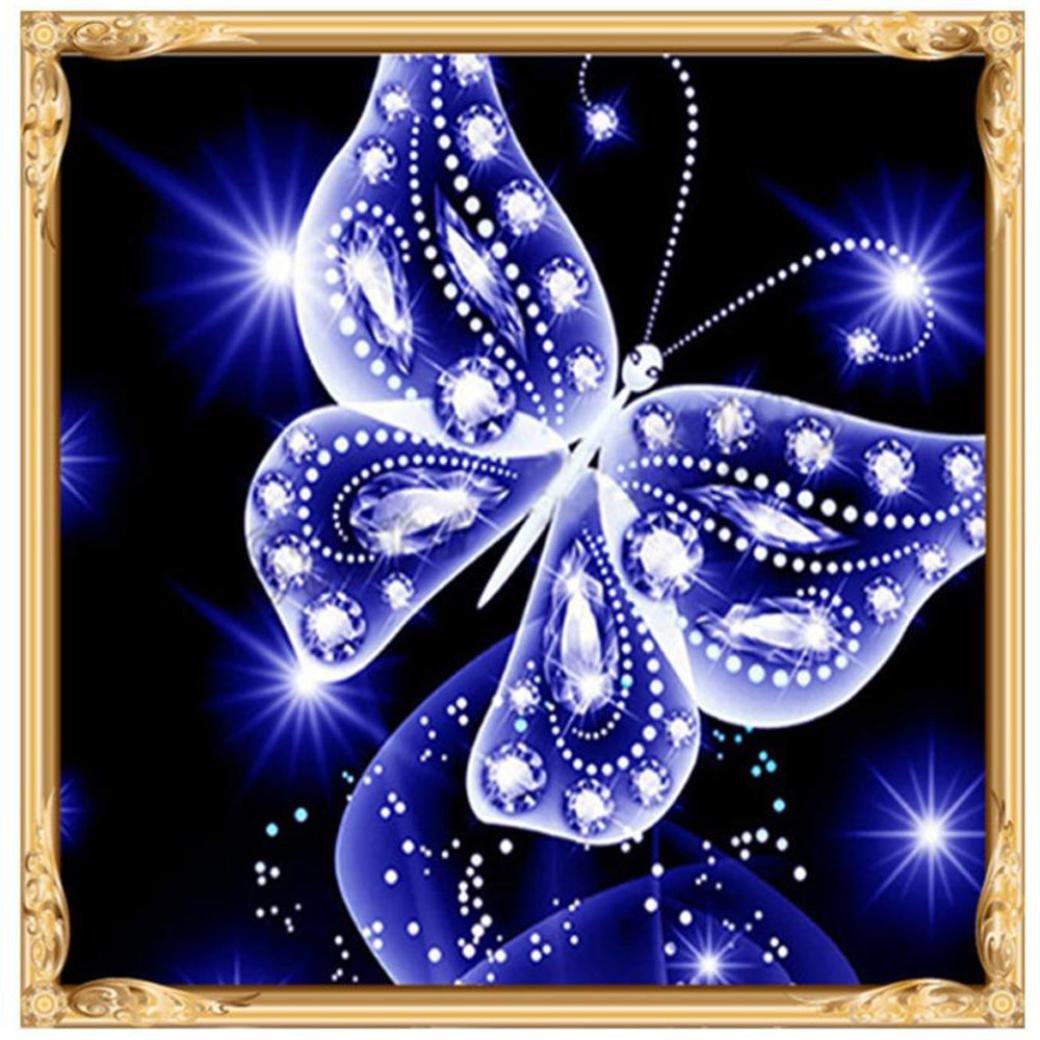 Voberry® DIY 5D Peinture Papillon Diamants Broderie Peinture Point De Croix Kit Papillon Diamond Painting Kits complets Décoration design moderne Salon Chambre Décoration 25x25cm (A) felicity YY