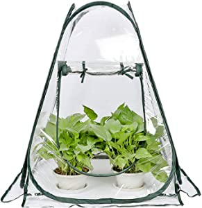 Mini Small Greenhouse for Plant Outdoors Indoor, Pop Up Portable Grow Greenhouse Tent Flower House Gardening Backyard (28