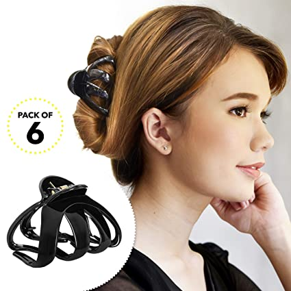 Large Hair Claw for Thick Hair Updo Tool Octopus Jaw Grip Folding Clip Brown