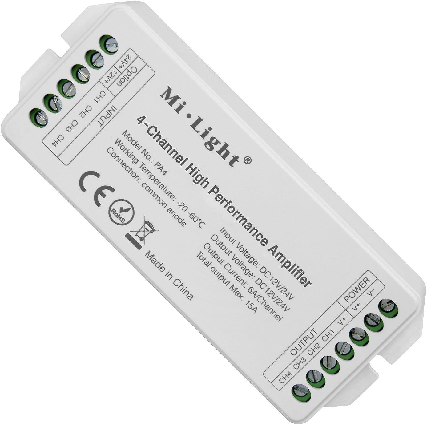 LIGHTEU®, Mi.Light PA4 Amplificador de alto rendimiento de 4 canales DC12V-24V Máximo 15A RGB RGBW Controlador de amplificador LED para RGB RGBW LED Strips