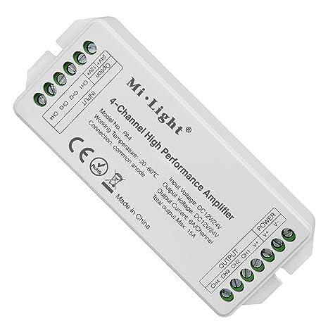 Light PA4 Amplificador de alto rendimiento de 4 canales DC12V-