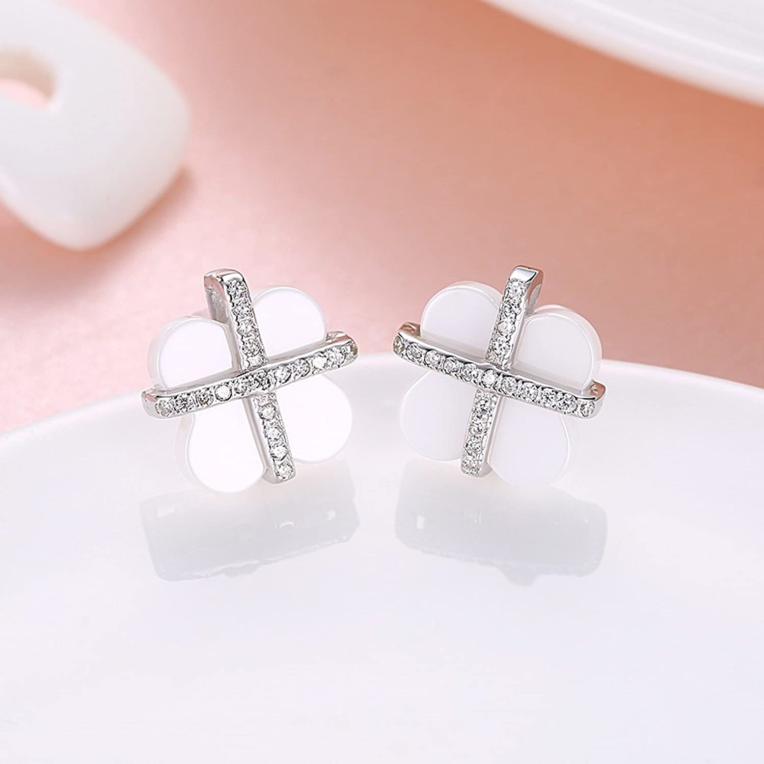 MoAndy S925 Sterling Silver Stud Earrings for Girls Women Cubic Zirconia