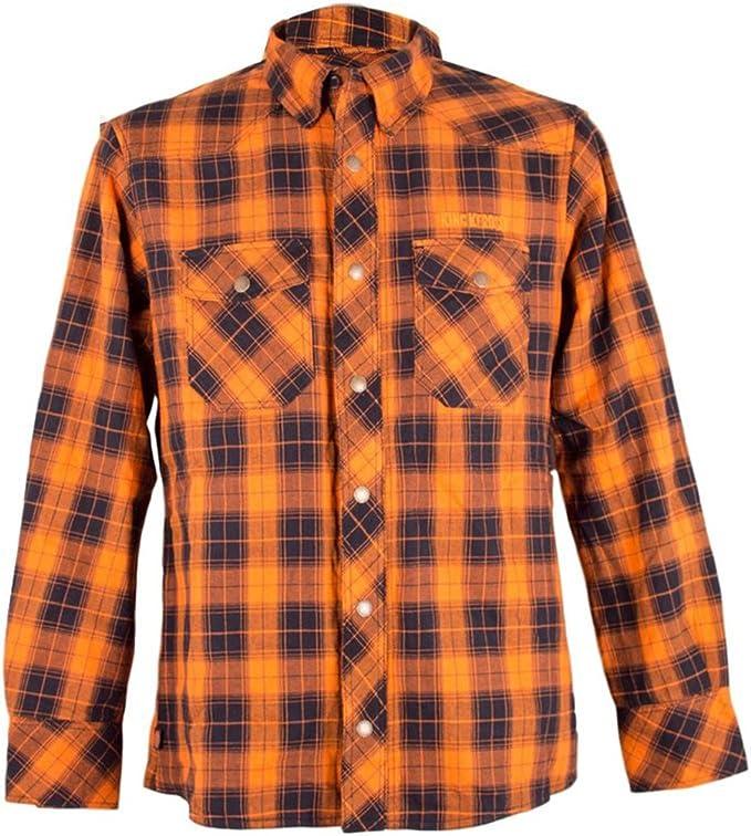 King Kerosin B4088 – Kevlar Biker Camisa Camisa de leñador – Check Wood Cutter Camiseta Verde – Crema de hasta 3 x l Naranja Small: Amazon.es: Ropa y accesorios