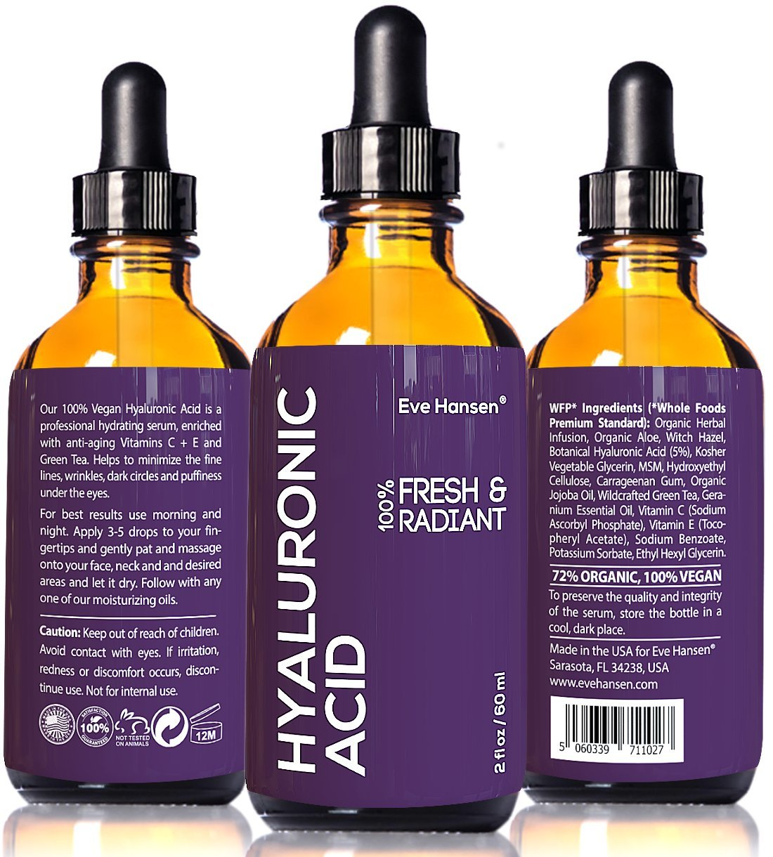 Pure Hyaluronic Acid Serum 2 Ounces by Eve Hansen. Hydrating Serum, Wrinkle Filler and Plumper. Experience Intense Moisture, Hydration and Anti Wrinkle Serum Benefits. Vegan, Natural and Cruelty Free.