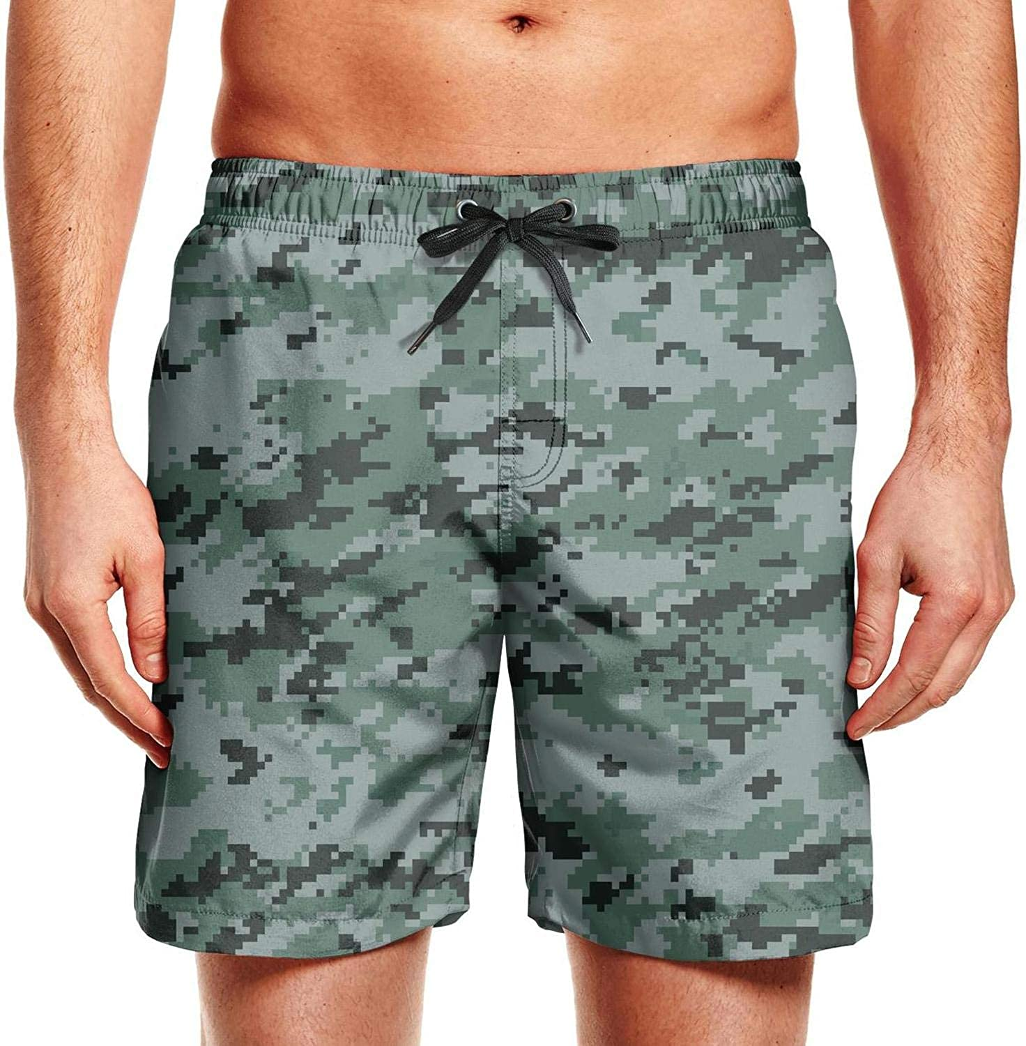 HailinED Mens Camouflage Camo Army Swim Trunks Summer Beach Shorts Brief Board Shorts