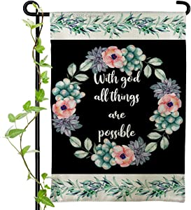 Garden Flag - with God All Things are Possiple - Seasonal Floral Wreath Religious Christian Faith Easter Spring House Yard Flags for Outside Home Lawn Patio Outdoor Decorations