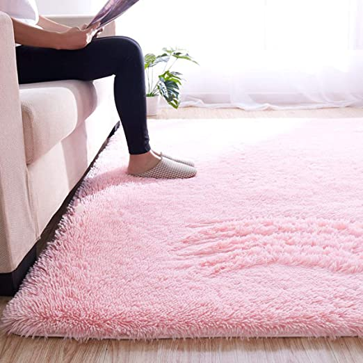 Pink Transser Ultra Soft Indoor Modern Area Rugs Fluffy Living Room Carpets for Children Bedroom Dormitory Home Decor Nursery Rugs