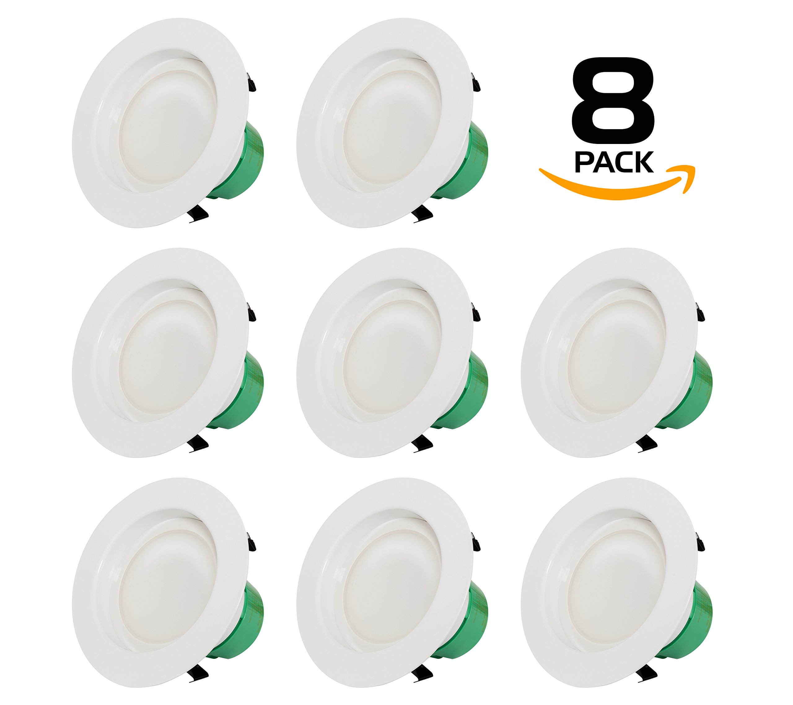 Westgate Lighting 19 Watt 6'' Inch Recessed Lighting Kit Dimmable LED Retrofit Downlight With Integrated Smooth Trim 120V - 5 Year Warranty (3500K Neutral White, 8 Pack)