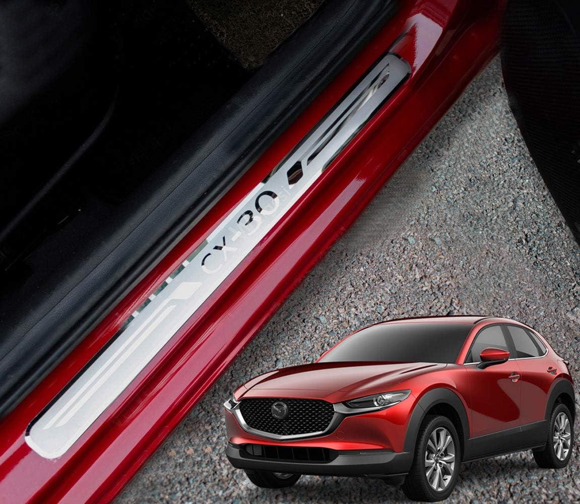 N//A 4 St/ück Autot/ürschwellenschutz f/ür Mazda CX-30 CX30 2019 2020 Edelstahl Trim Scuff Pedal Threshold Cover Schutzplatte Ticker Zubeh/ör