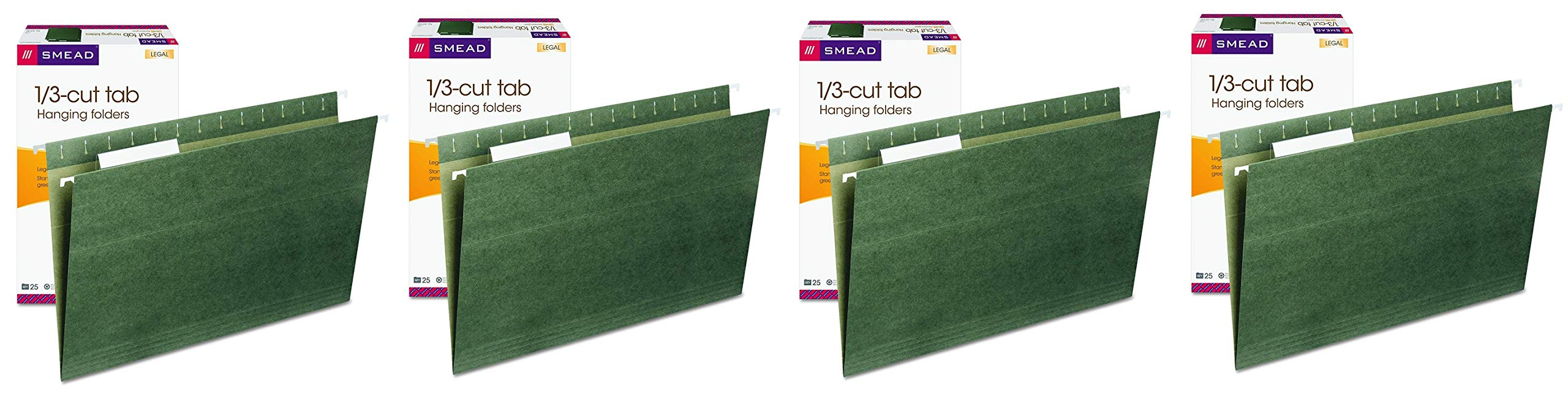 Smead Hanging File Folder with Tab, 1/3-Cut Adjustable Tab, Legal Size, Standard Green, 25 per Box (64135) (Fоur Расk)
