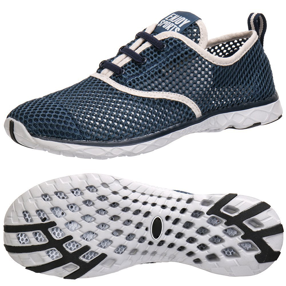 Men's Mesh Lace-Up Quick Drying Aqua Water Shoes Breathable Lightweight Fashion Walking Shoes B073RFF182 12 D(M) US|Darkblue