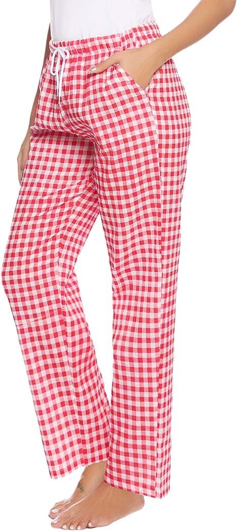 Aibrou Pantalones de Pijama Mujer Largos de 100% Algodón, Suave ...