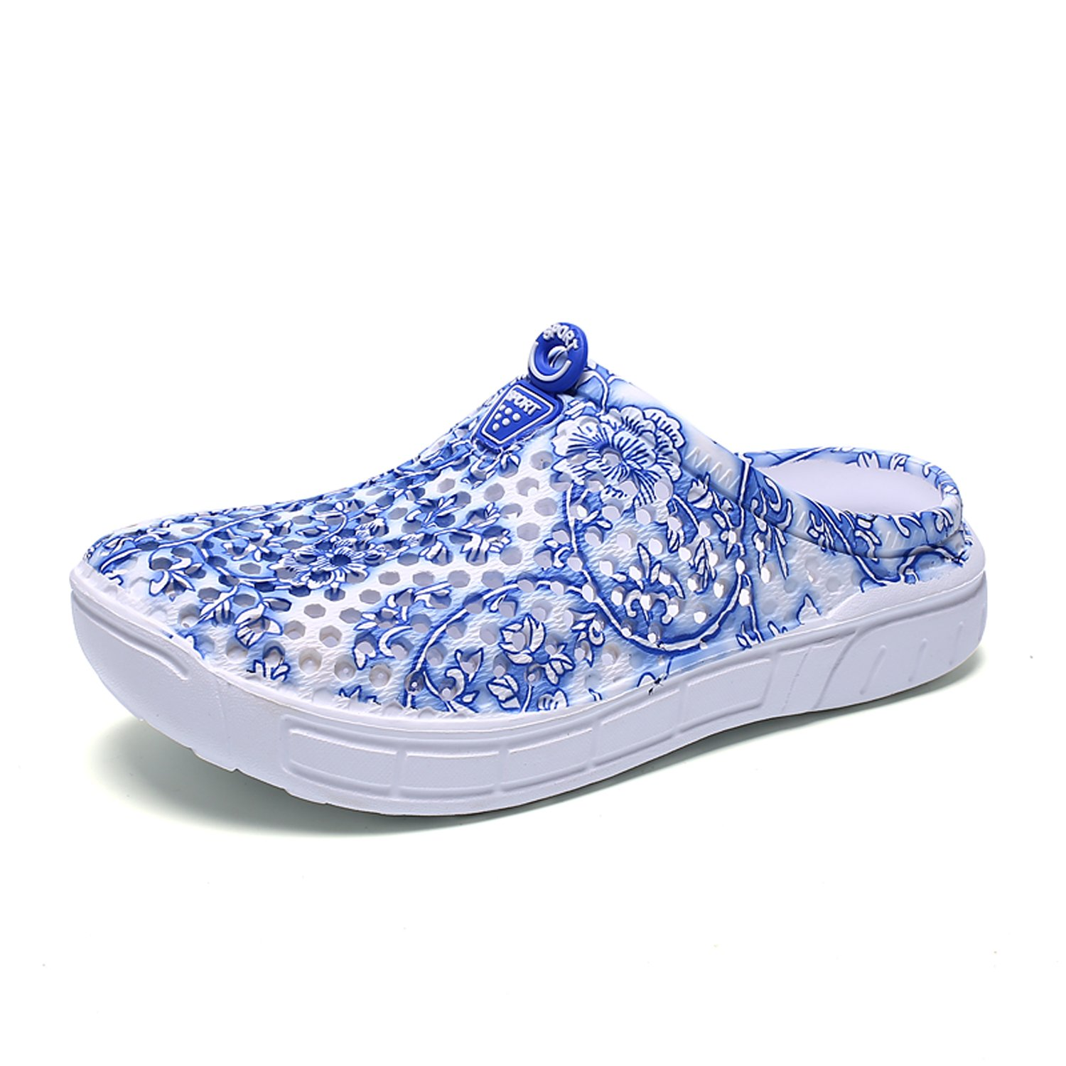 BODON Womens Summer Breathable Mesh Slippers Lightweight Mesh Clog Quick Drying Garden Shoes Footwear Anti-Slip Shoes Blue Flower 39