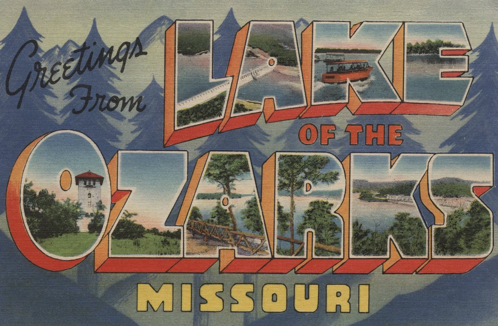 Greetings from Lake of the Ozarks, Missouri - Vintage Halftone (12x18 Art Print, Wall Decor Travel Poster)