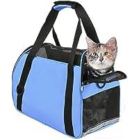 PUBAMALL Pet Carriers, Portador de Gatos, Bolsa de Mascotas Plegable portátil para Perros, Cremallera bloqueable y Bolsa de Hombro (S:43 * 28 * 19CM, Azul)