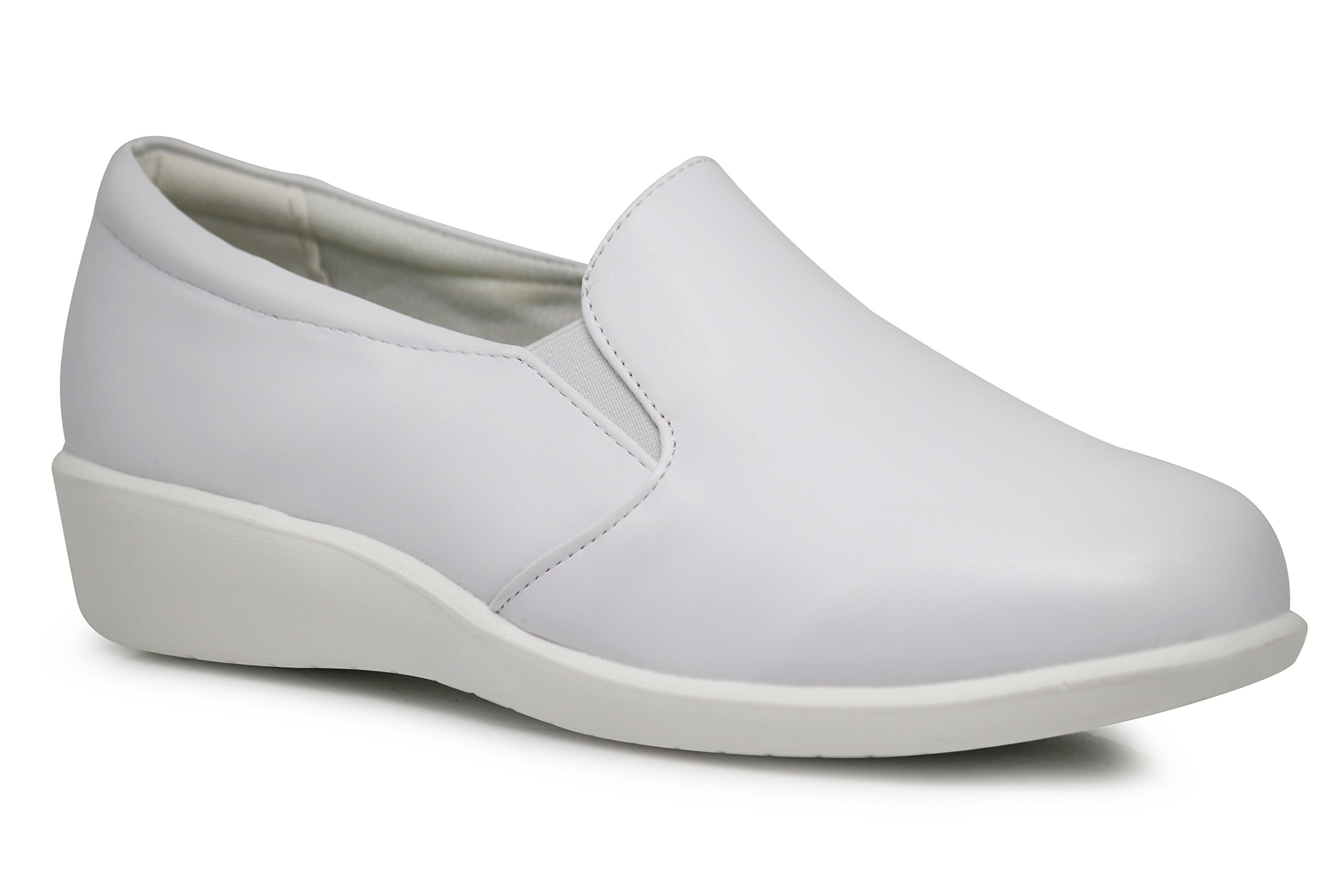 Enzo Romeo HY01 Women Slip On Loafers Nurse Work Medical Waitress Shoes Clogs Slip Resistant Shoes (7.5, Harmony02_White)