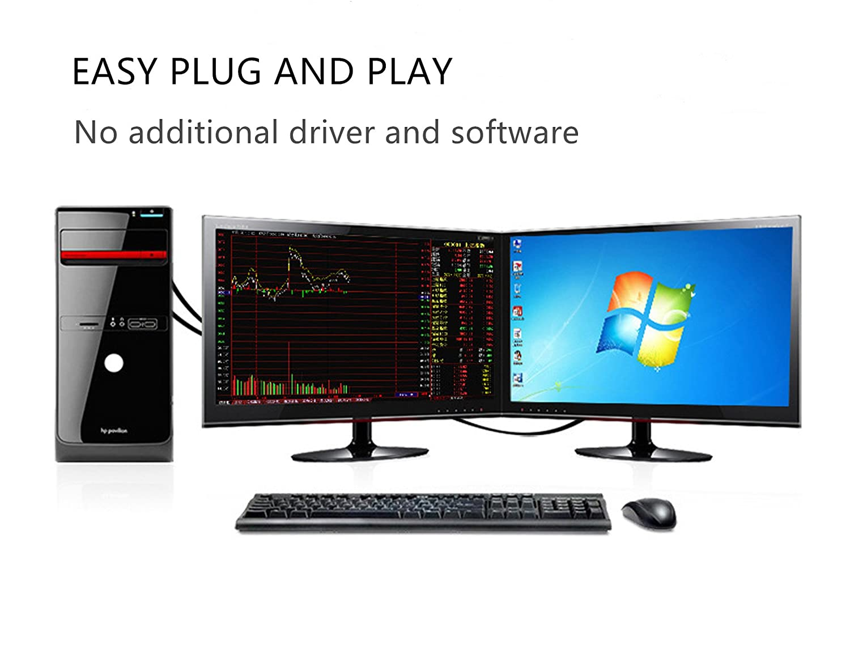 HYZUO Aktive DVI D auf VGA Adapter DVI-D Dual Link 24 1 Stecker zu VGA Stecker Video Kabel Konverter Flachkabel 6,5 Fu/ß