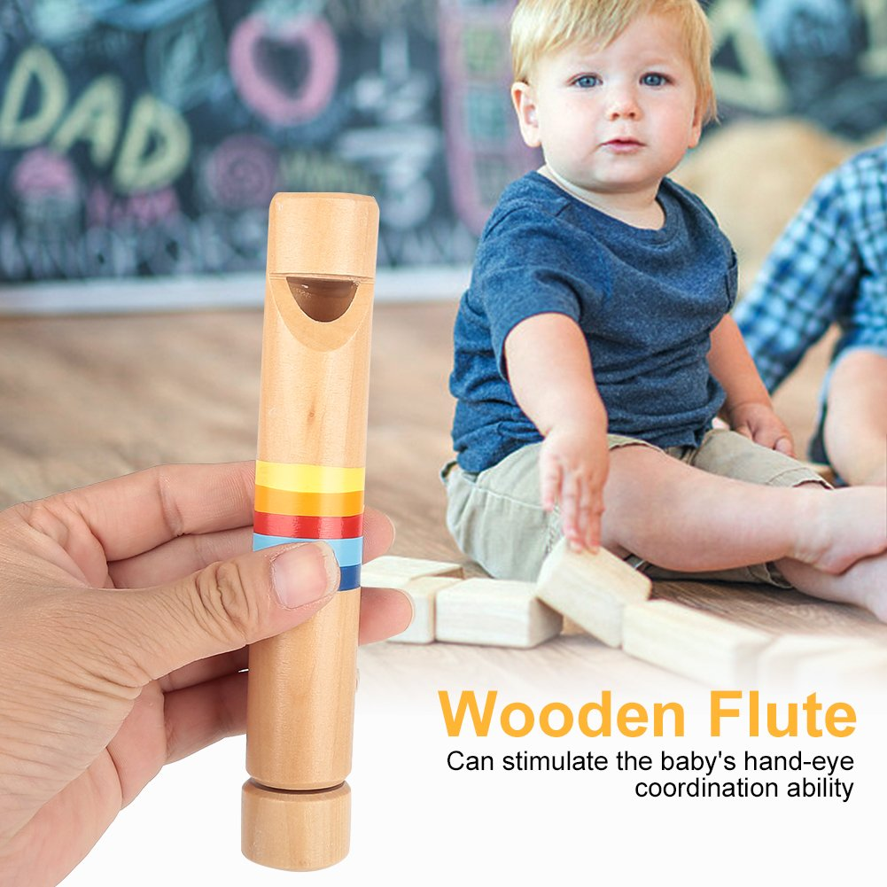 SolUptanisu Wood Piccolo Wooden Fipple Flute Traditional Instrument Great Toy Gift for Kids Beginners Children