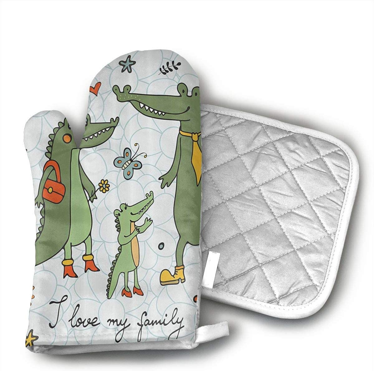Cute Hand Drawn Alligators Natural Kitchen Heat Resistant Oven Mitts Pot Holders Non Slip Oven Gloves for Kitchen Cooking Baking, BBQ, Grilling