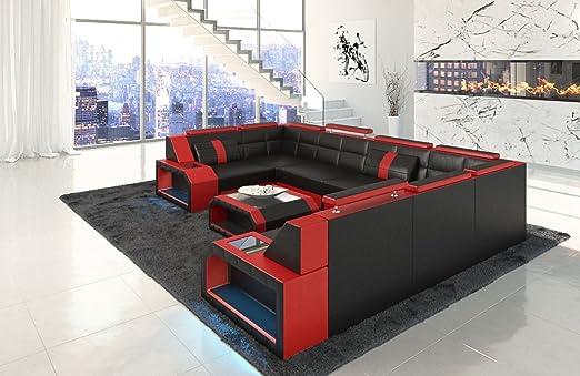 Sofa Dreams Piel Salón Paisaje Pesaro U Forma Negro de Color ...