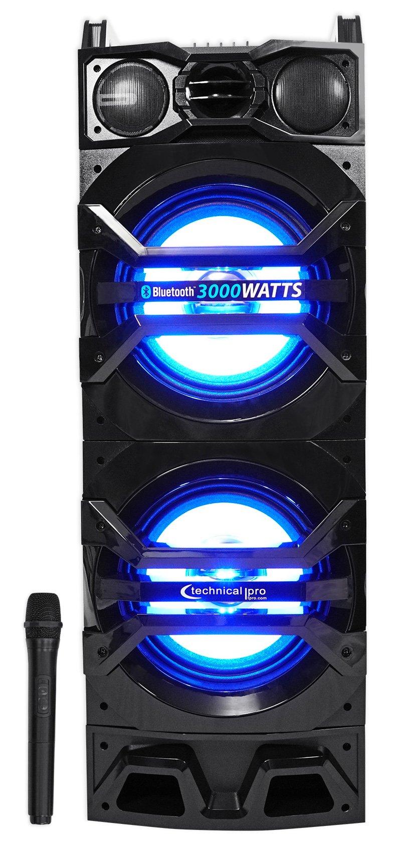 Technical Pro Dual 10'' Powered 1500w Bluetooth Speaker w/USB/SD/LED+Wireless Mic