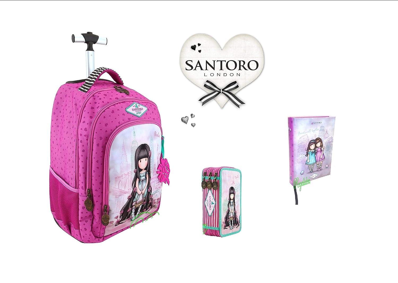 Trolley Mochila para Escuela Santoro gorjuss Rosebud London + Estuche de 3 Pisos Completo + Diario estándar + (V + Regalo marcapáginas: Amazon.es: Equipaje