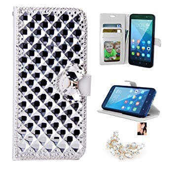 Huawei Honor 5X Case, 3D Bling Rhinestone Butterfly Flower Cover for Huawei  Honor 5X, Premium Leather Flip Wallet Case with Free Gift Earrings
