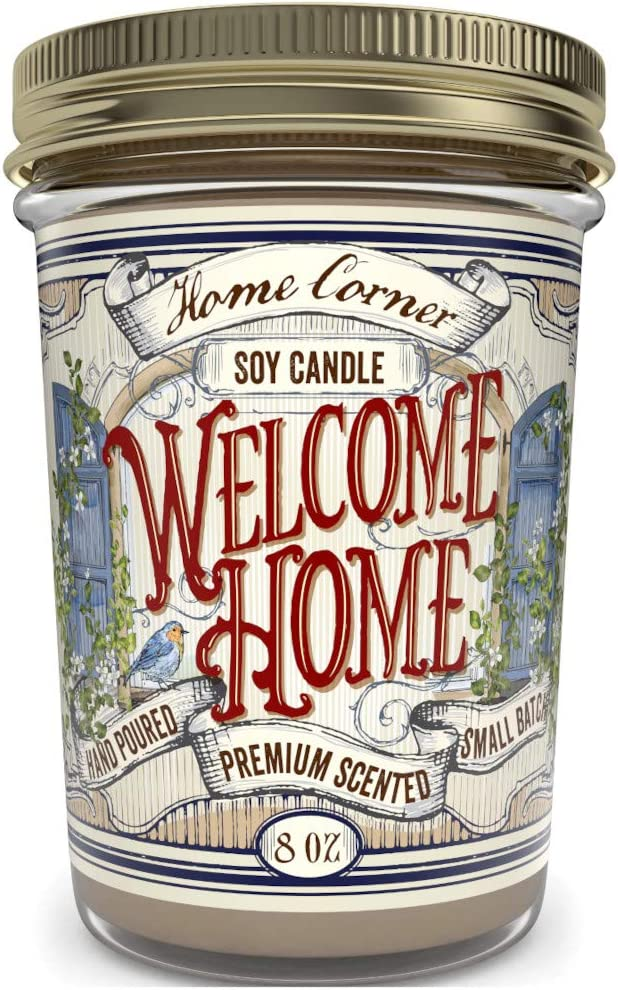 Home Corner Candles - Welcome Home (Vanilla Latte Coffee) - Scented Soy Jar Candle - Great Housewarming Gifts and Home Décor - Hand Poured in The USA - Highly Scented & Long Lasting Burn Time - 8 oz