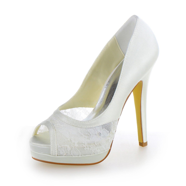 JIA JIA Scarpe da Sposa da Donna 40919 Peep Toe Stiletto Tacco Pizzo Raso Piattaforma Pompe Scarpe da SposaBianco