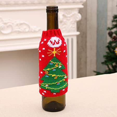 Artículos para el Hogar de Navidad de Alto Grado de Punto Botellas de Cerveza de Navidad Conjuntos de Botellas de Cerveza de Navidad Decorado Conjunto de Botellas de Vino,C,9 * 15 cm: