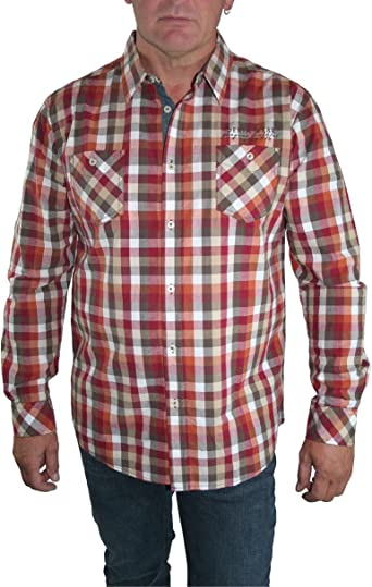 paddocks Camisa Camisa Hombre Manga Larga Rojo/Naranja/Blanco ...