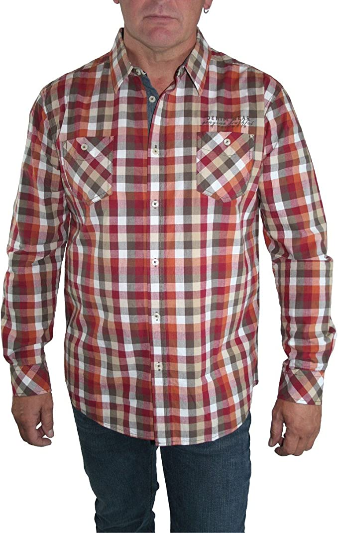paddocks Camisa Camisa Hombre Manga Larga Rojo/Naranja ...