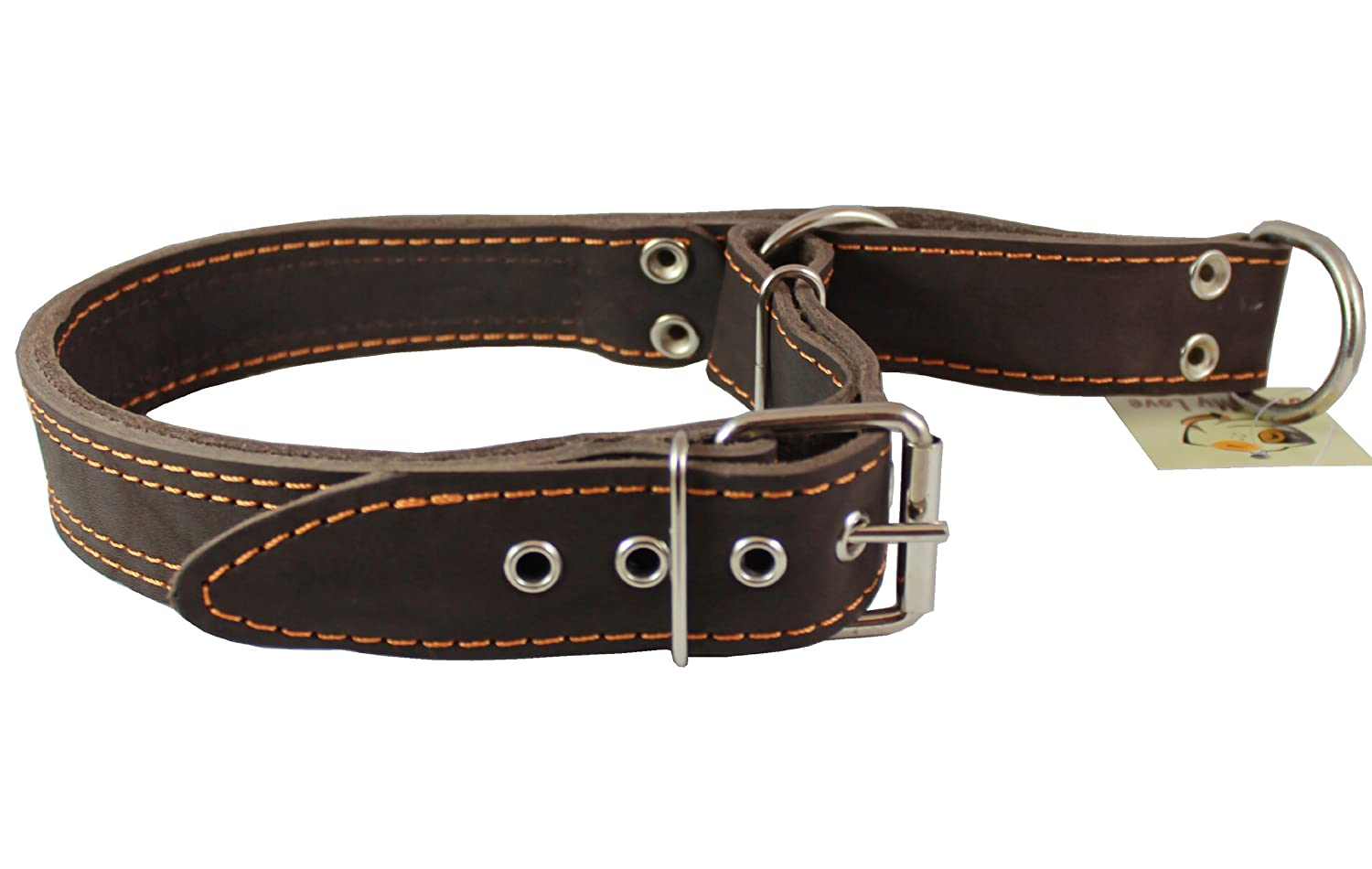 Martingale Genuine Brown Double Ply Leather Dog Collar Choker Large Fits 19-22.5 Neck.