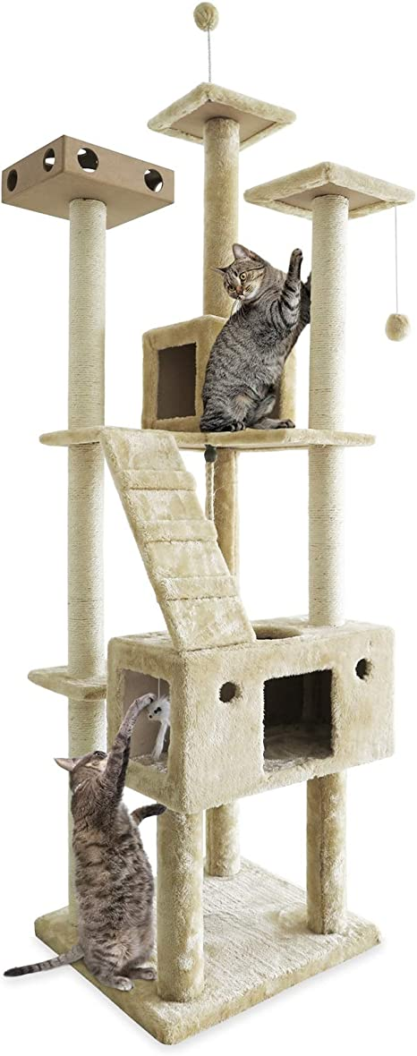 Furhaven Pet Cat Tree Tiger Tough Cat Tree House Condo Entertainment Playground Furniture For Cats And Kittens Double Decker Playground Cream Pet Supplies