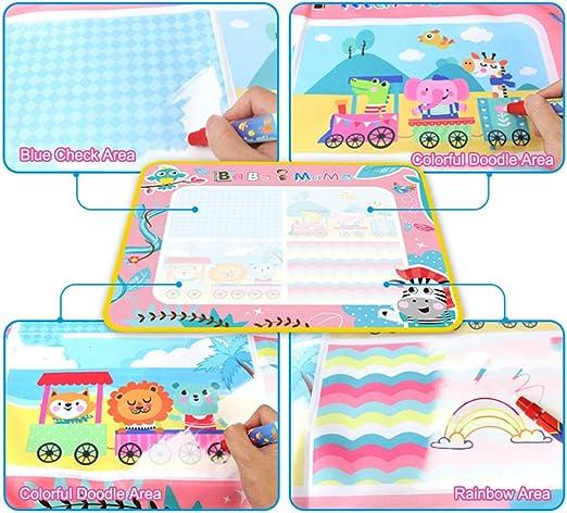 PUZ Toy Juegos para Ni/ños de 2-3 a/ños Aqua Magica Doodle Princesa 88*60cm Pinturas para Ni/ña Bebe Pizarra Ni/ños Pintar con Agua Rosa con 2 Plumas Regalos de Cumpleanos Navidad