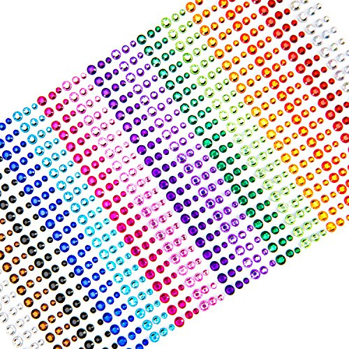Face Gems, UnityStar 900 PCS Self-Adhesive Rhinestone Stickers Sheets Embellishments for Christmas Crafts Body Nail Makeup Festival Carnival 3mm 4mm 5mm with 15 Colors -