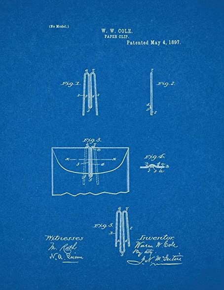 Amazon paper clip patent print art poster blueprint 18 x 24 paper clip patent print art poster blueprint 18quot malvernweather Choice Image