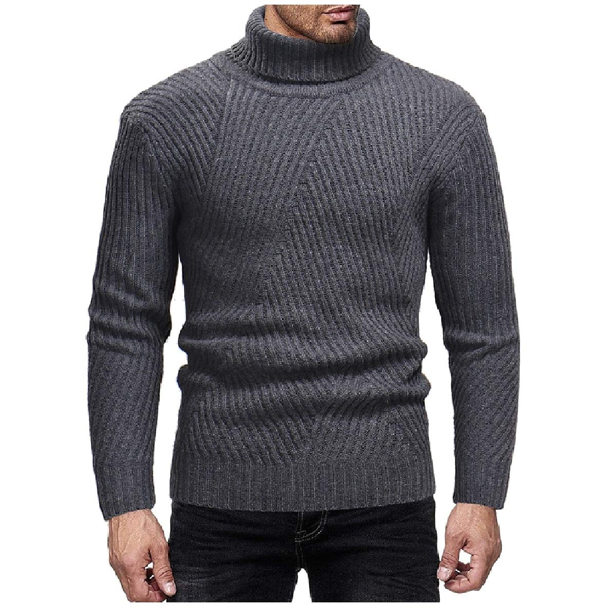 Tootless-Men Pullover Knit Stripes Comfy Autumn Winter Turtle Neck Sweaters