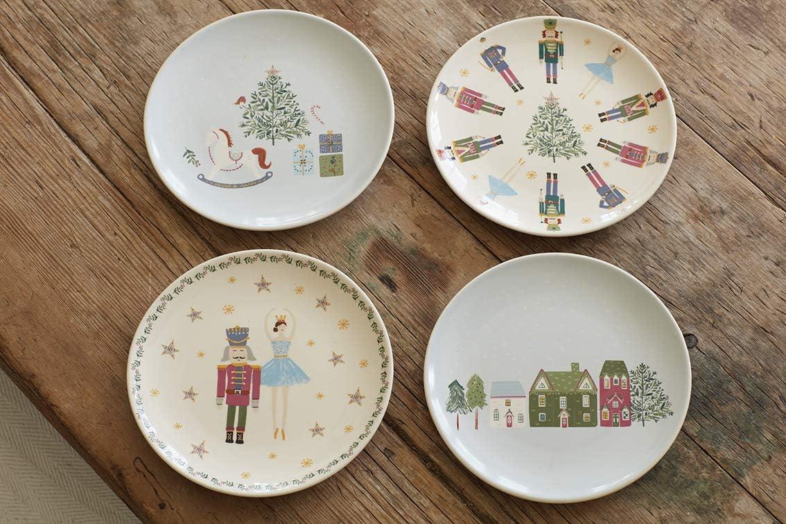 17 cm 6 Pieces cer/ámica KitchenCraft dise/ño navide/ño Juego de platos de cer/ámica