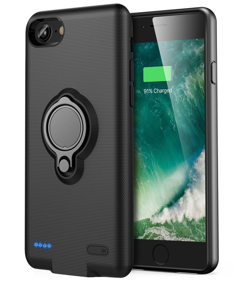 iPhone 6/6s Battery Case - Veepax Premium 5000mAh Portable Charging Case Rechargeable Extended Battery Pack with Car Holder Kickstand for Apple iPhone 6/6s/7/8 (4.7 Inch) - Black