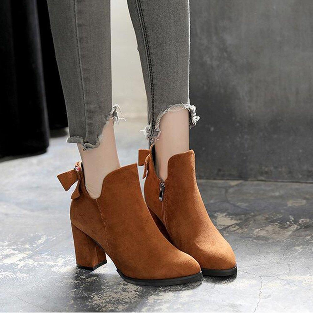 Stiefel HAIZHEN Damen Mädchen Stiefelies Damen Komfort Komfort Komfort Herbst Winter Casual Ferse Kamel Schwarze Ferse 8cm Für 18-40 Jahre alt 672a37